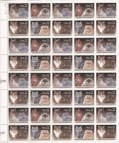 Cats Sheet of 40 x 22 Cent