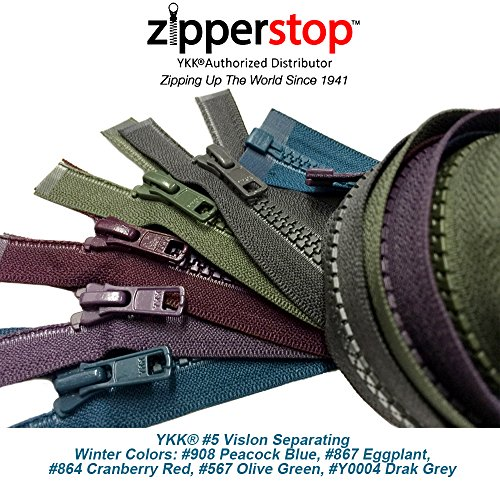 ZipperStop Wholesale YKK - Fashion Trends Zippers 30 Inch Sport YKK #5 Vislon Jacket Zipper (5 Assorted Colors) Medium Weight Molded Plastic - Separating (Winter)