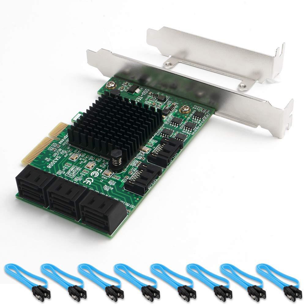 QNINE Carte 8 Ports SATA Carte contr/ôleur SATA PCIe avec 8 c/âbles SATA d/émarrage en Tant Que Disque syst/ème contr/ôleur SATA 6 Gbit//s Carte dexpression PCI Express avec Support Extra-Plat
