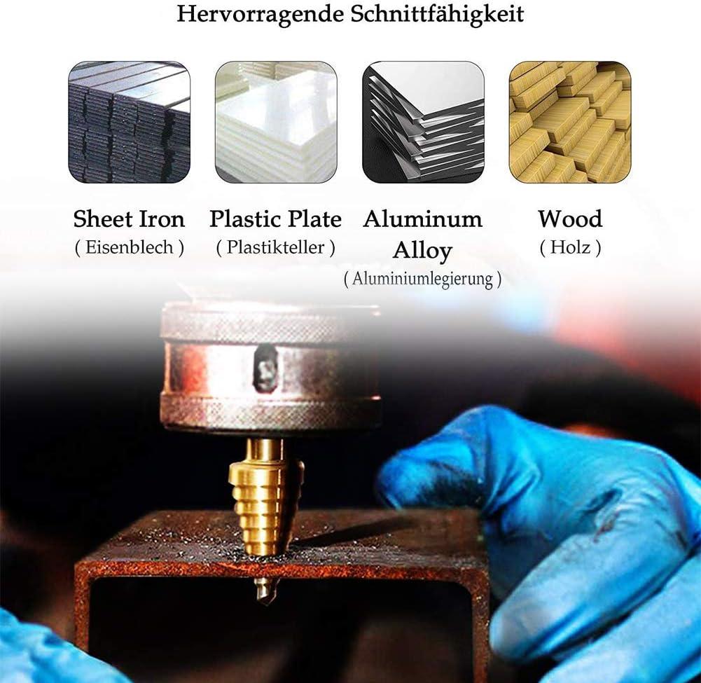 HSS Stufenbohrer Metall 5-35mm Stufenbohrer Sch/älbohrersatz f/ür Edelstahl Stahlbleche NE-Metalle Profi Stufenbohrer