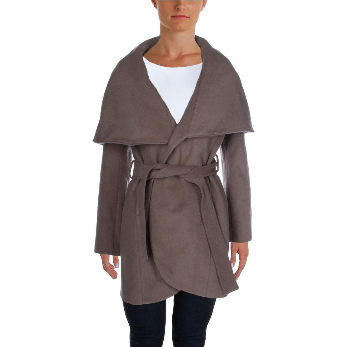 T Tahari Womens Marla Wool Shawl Collar Coat Taupe M