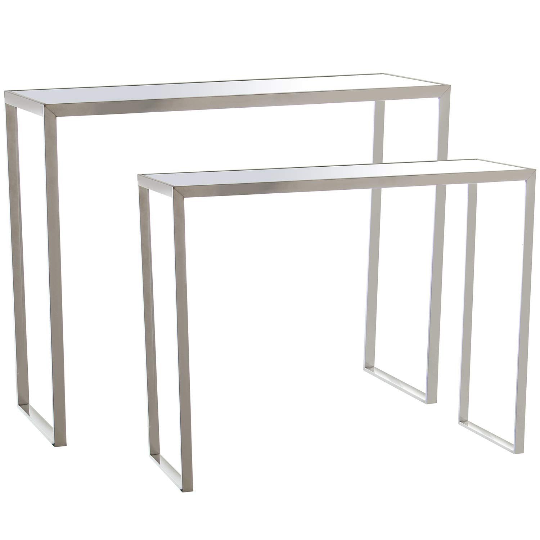 E-Camacho Set 2 mesas Acero INOX./Cristal Espejo: Amazon.es: Hogar