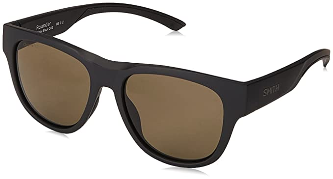 2a6012d326 Smith Rounder Sunglasses Matte Black with ChromaPop Polarized Gray Green  Lens