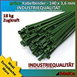 Serre câble 200 pièces liens verte 140 x 3,6 mm qualité industrielle / Produit en Europe