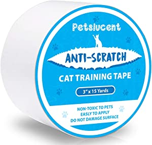 Petslucent Cat Scratch Deterrent Sticky Paws Tape, Cat Training Tape Anti Scratching Furniture Protector, Double Sided Guards for Carpet, Sofa, Couch, Door