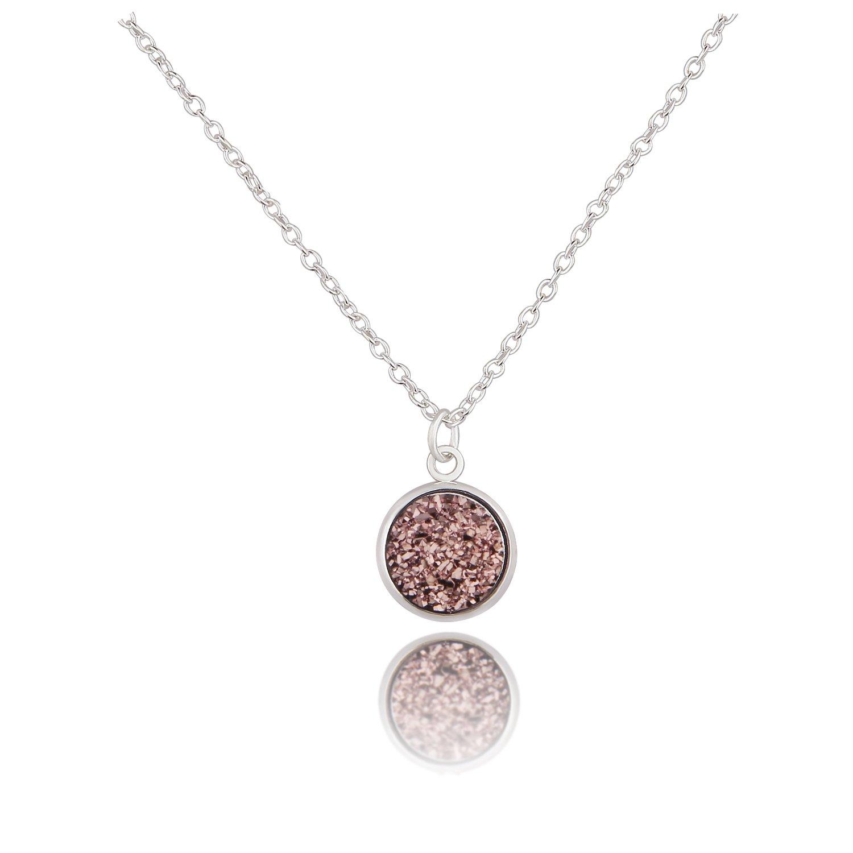 KUIYAI Round Faux Druzy Stone Necklace Galactic Wedding Jewelry (Brown)