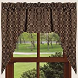 Home Collection by Raghu Marshfield Jacquard Black and Tan Swag, 72″ x 36″ For Sale