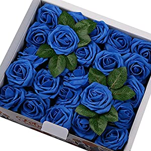 Febou Artificial Flowers, 50pcs Real Touch Artificial Foam Roses Decoration DIY for Wedding Bridesmaid Bridal Bouquets Centerpieces, Party Decoration, Home Display (Standard Type, Blue) 31