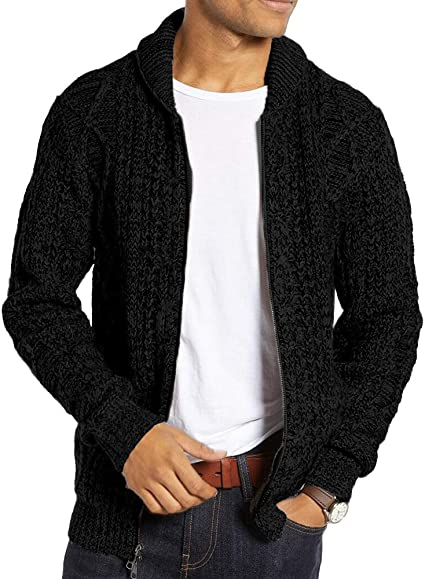Mens Winter Thick Sweater Warm Zip Casual Knitwear Coat Long Sleeve Top Outwear