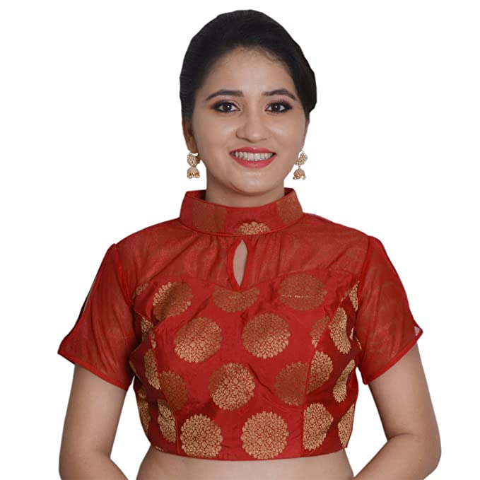0d18a5fe7830e Biyu Womens Red Tapeta Silk Chinese Collar Padded Readymade Saree Blouse (JB003-RED 38)