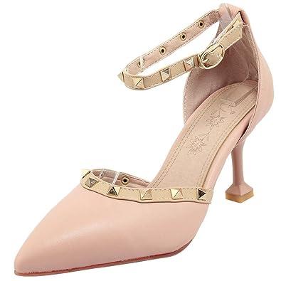 7e20618cc31675 Atyche Damen High Heels Riemchen Pumps mit Nieten und Stiletto Spitze Ankle  Strap Schuhe - sommerprogramme.de