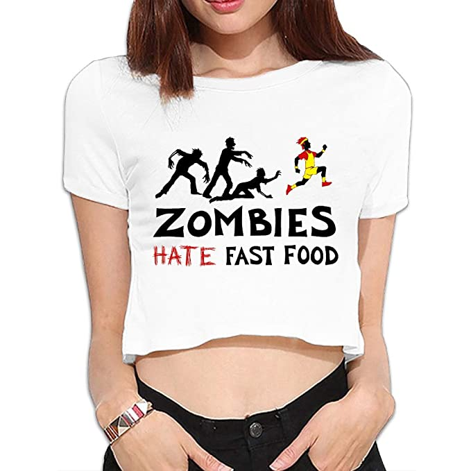 Roller Derby Because Hate Fast Food Standard Women/'s T-Shirt Zombies Tee