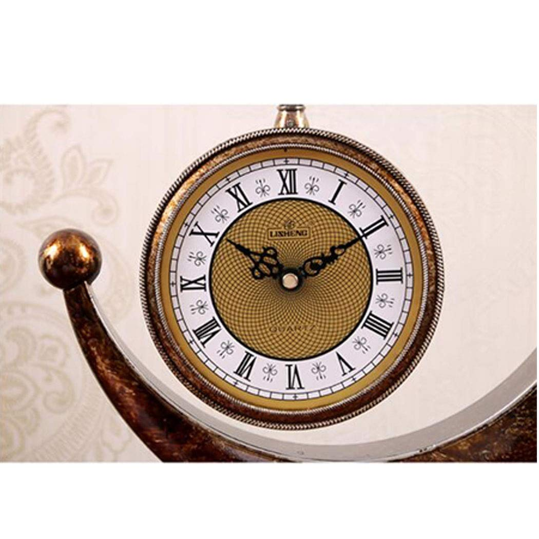 HONGNA European Plastic Clock Ornaments Living Room Home Clocks Atmosphere Sitting Clocks Desktop Pendulum Clock Creative Desk Clock Desktop Clocks 12 Inches (Color : Brown, Size : 12 inches) by HONGNA (Image #5)