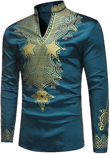 Camisa De Los Hombres Primavera Otoño Manga Larga Festival Tradicional Africano Clásico Camisas Tribal Vintage Tops De La Camiseta Chicos: Amazon.es: Ropa y accesorios