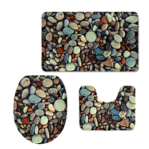 CHAQLIN 3 Piece Bath Mat Set Macro Pebbles Stones Nature Beach Sea Textures Non-Slip Bathroom Mats Contour Toilet Cover Rug