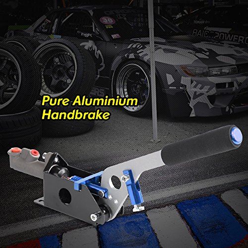 Hydraulic Handbrake Universal Ebrake Fit For Drift Track Rally Racing Emergency Parking E-Brake Adjustable Pre-Load & Pin Locations Vertical Horizontal Position With Anti-Slip Sponge Handle Blue ()