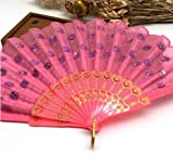 Pink Home Decoration Crafts Vintage Retro Peacock Folding Fan Hand Plastic Lace Dance Fans