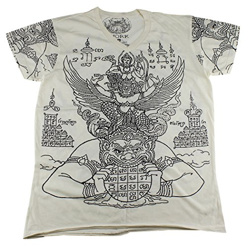 [WORK Thai Tattoo Sak Yant Vishnu Rahu Garuda T-Shirt / WK04 size M] (Muay Thai Fighter Costume)