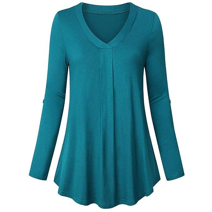 Yvelands Camisas para Mujer, Womens 3/4 Cuffed Sleeve Blusa ...