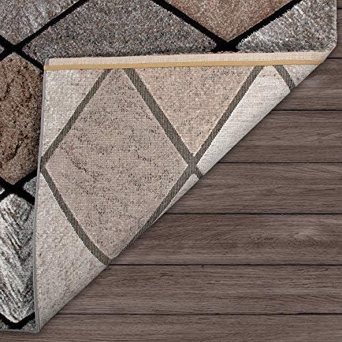 Tappeto a Pelo Corto per Soggiorno con Motivo a Rombi e Look 3D, in Marrone, Dimensione:120x170 cm
