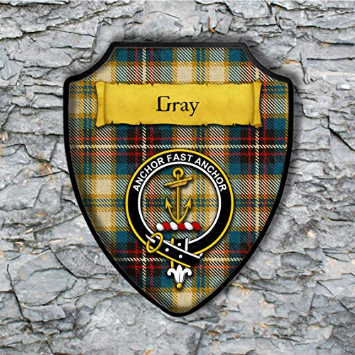 - Gray Shield Plaque with Scottish Clan Coat of Arms Badge on Clan Plaid Tartan Background Wall Art