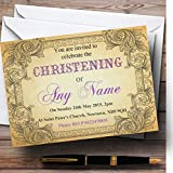 Typography Vintage Purple Postcard Christening Party Personalized Invitations