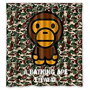 "A Bathing Ape Eyewear 17 Design Waterproof Custom Bathroom Shower Curtain Standard Size 66"" x 72"""