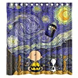 doctor who painting - LIBIN Custom Cute Snoopy with Starry Night Tardis Doctor Who Waterproof Polyester Fabric Bathroom Shower Curtain Standard Size
