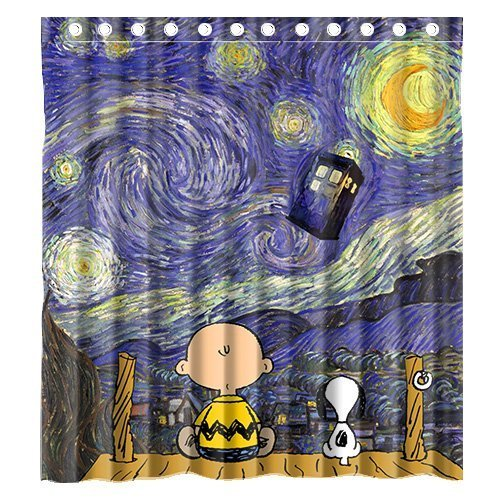 Custom Cute Snoopy with Starry Night Tardis Doctor Who Waterproof Polyester Fabric Bathroom Shower Curtain Standard Size Snoopy Curtain