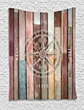 Ambesonne Marine Life Tapestry, Navy Sea Life Yacht Theme Colored Wood Backdrop with Rudder like Compass Image, Wall Hanging for Bedroom Living Room Dorm, 40 W x 60 L Inches, Multicolor