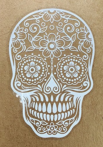 (Version 103) OSMdecals - White Mexican Sugar Skull Sticker Decal - Day of the Dead Vinyl Wall Home Decor Truck Car Window Bumper Decal Sticker