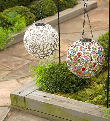 Solar Hanging Floral Jewel Ball Decorative Yard and Garden Accent 10 In Dia. Multi-Colored Crystals by Plow & Hearth (Image #1)