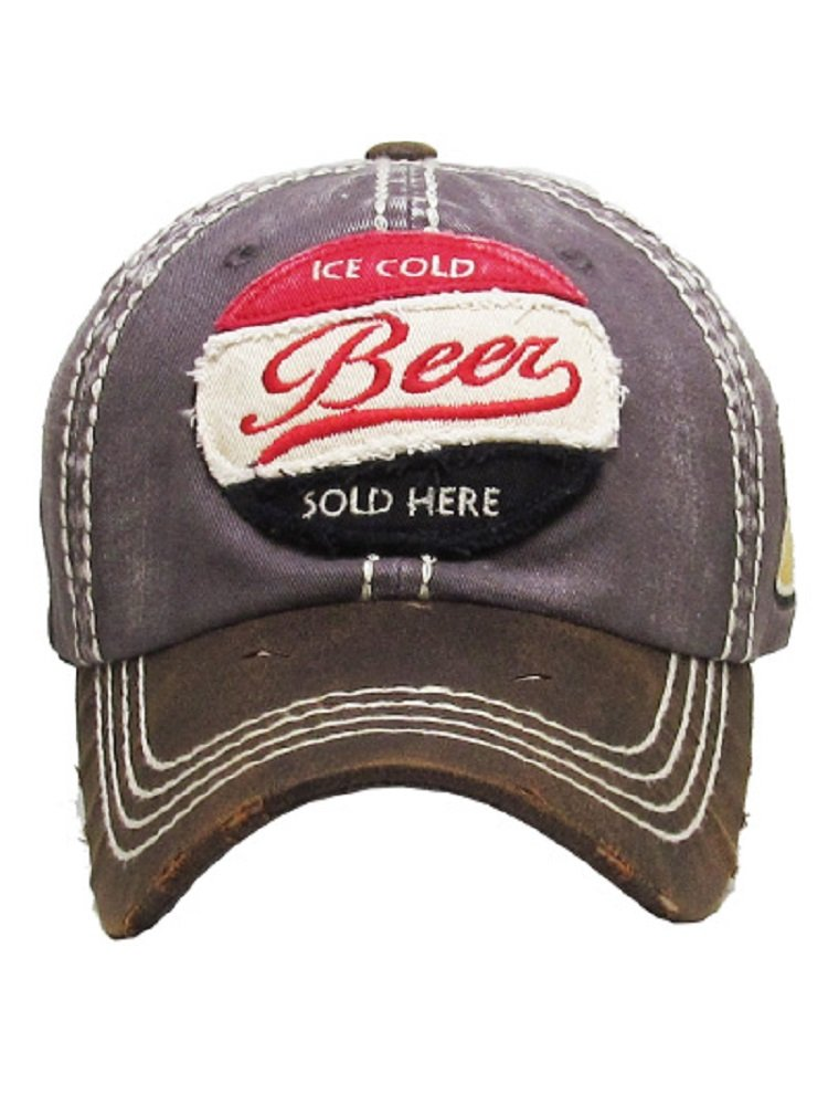 Ice Cold Beer Sold Here Dark Grey Washed Ball Cap.