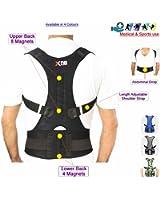 Back Support Neoprene Magnetic Lumbar Shoulder Support Breathable Back Pain Belt Strap Injury Brace Gym Arthritis round shoulder Posture Corrector bad upper back Support Pain Brace - B107
