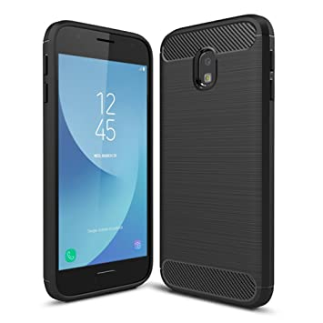 POOPHUNS Funda Samsung Galaxy J5 2017, Carcasa Samsung Galaxy J5 2017, Fibra de Carbono, Negro Silicona Fundas Carcasas Case Cover Caso Protectora, ...