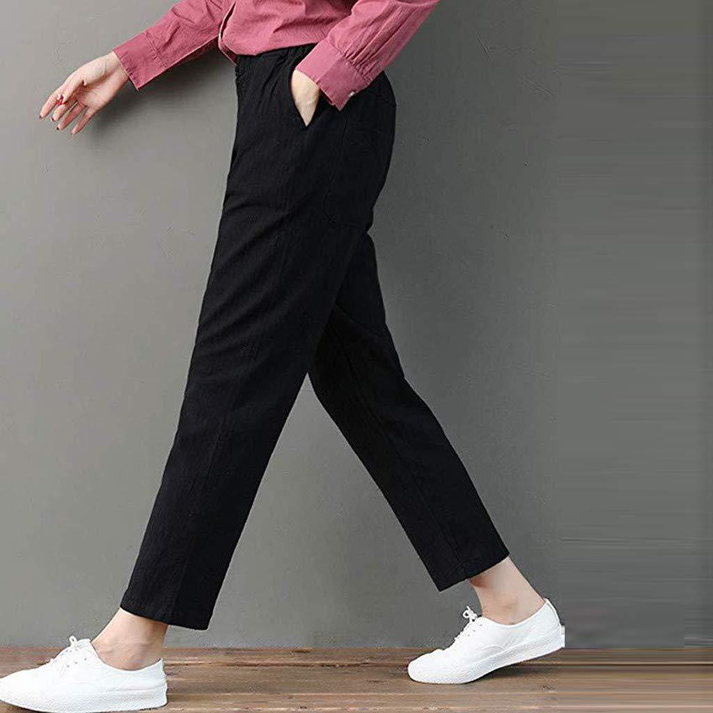 AMUSTER Pantaloni Donna Casual Estivi Larghi Eleganti Taglie Forti Vita Alta in Cotone E Lino Tinta Unita