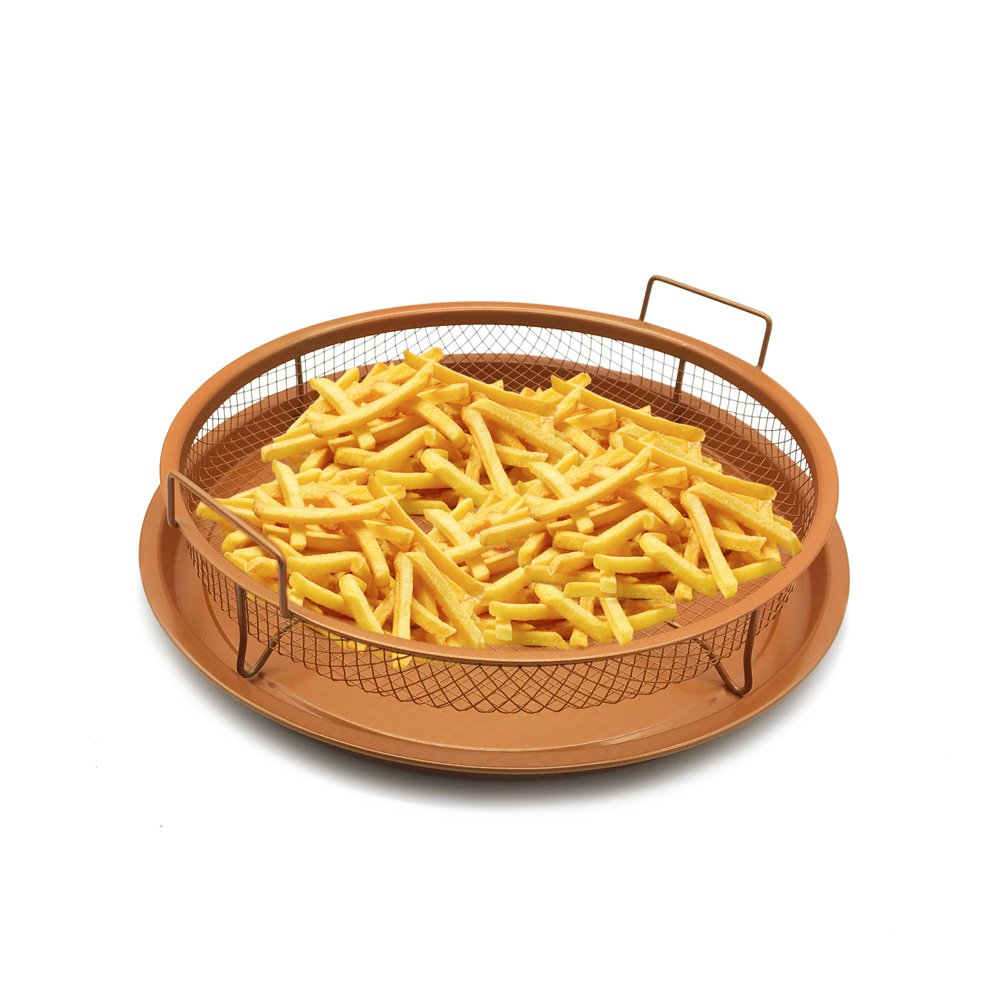 HOMOW Non-Stick Copper Ceramic Crisping Tray Air Fryer to Make Crisper Personal Pan Pizza, Fries, Wings, Baking Pan, 2 Piece Set (Round Pan) NS-R12