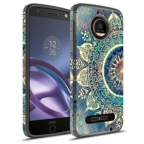 Moto Z2 Force Case, Moto Z force (2nd Gen.) Case, Rosebono Hybrid Dual Layer Shockproof Hard Cover Graphic Fashion Cute Colorful Silicone Skin Case for Moto Z2 Force - Green Mandala