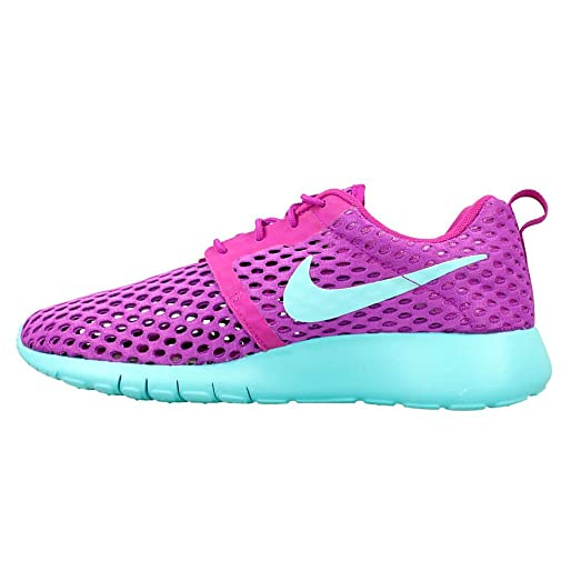 Nike Youth Roshe One Flight Weight Mesh Shoes-Hyper Violet/Hyper Turqiouse-4