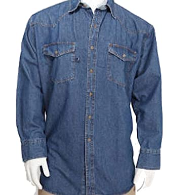 05165115f8b7 Blue Collar Outlet Western Style Denim Men's Long Sleeve Shirt with Button  Front (No Snaps