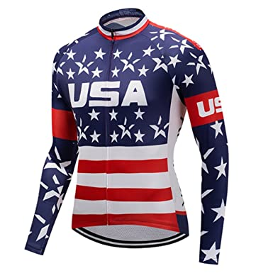 c9841b64a Weimostar USA Flag Men s Cycling Jersey Long Sleeve Bicycle Jacket Funny Bike  Clothing Quick Dry Breathable