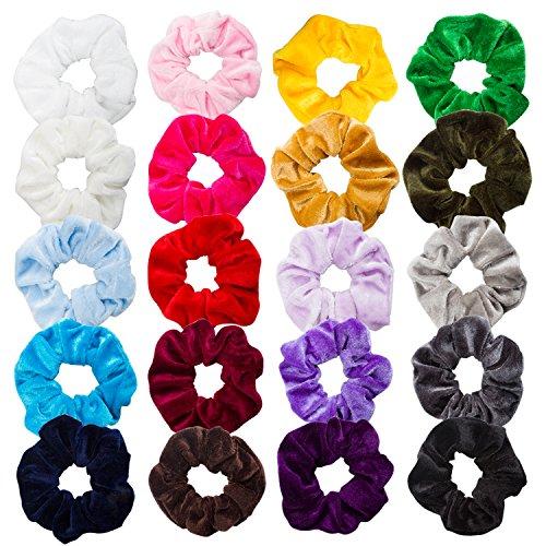 AOPRIE 20 Pack Velvet Scrunchies For Hair Bobble Elegant Elastics Hair Scrunchy Ties for Women Soft Hair Bands Hair Bobbles for Girls no Damage In Long Curly, 20 colors by AOPRIE