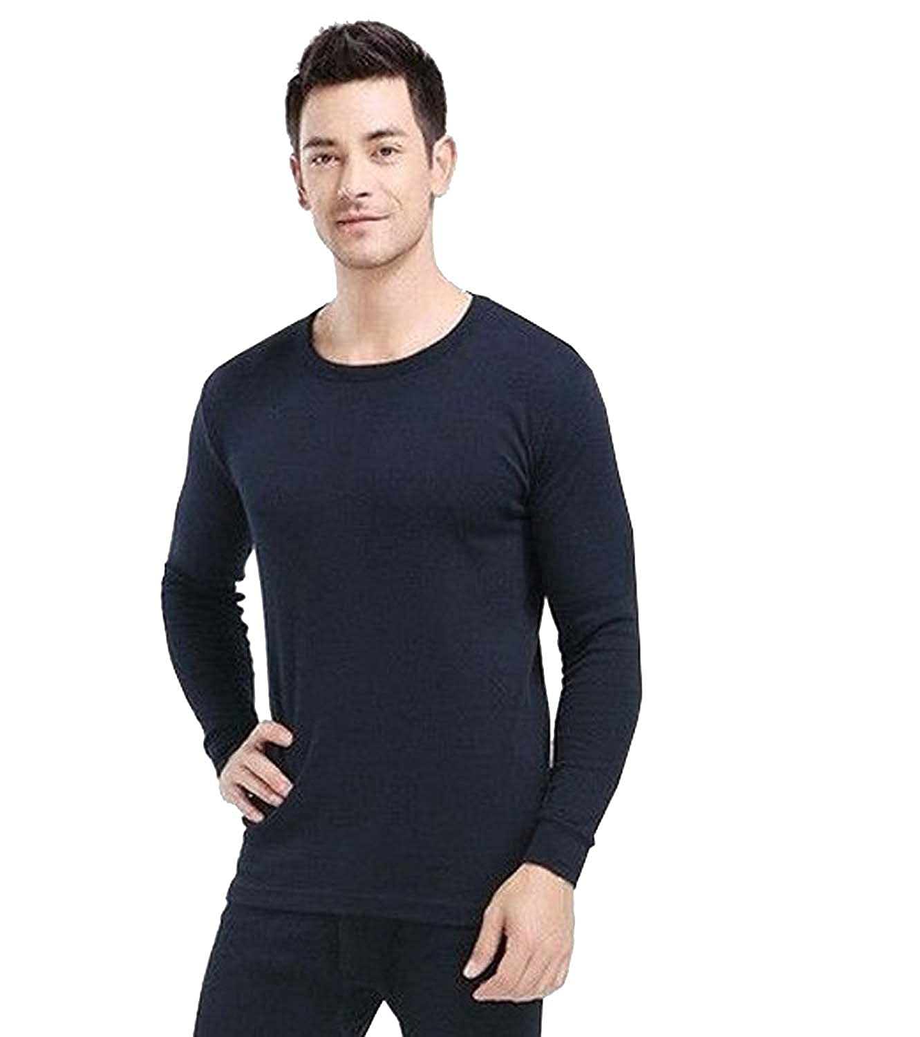 Elegance123 Men's Thermal 100% Cotton(240 Gsm) Soft Long Sleeve Fitted T-shirt Top(ref:1290)