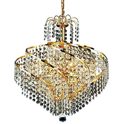 Elegant Lighting 8052D18G/EC Spiral Collection 8-Light Hanging Fixture with Elegant Cut Crystal, Gold (Spiral Collection 8 Light Chandelier)