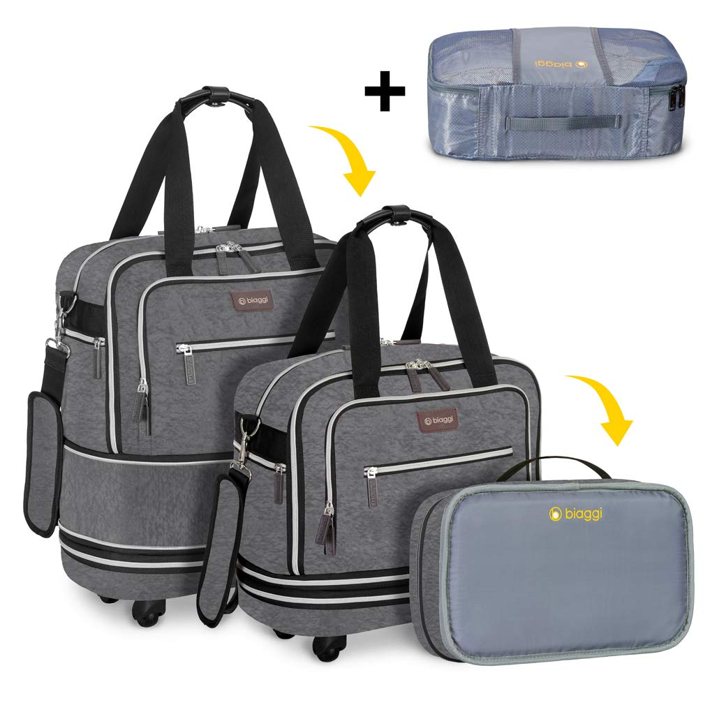 Biaggi Luggage Zipsak Boost! Expandable Underseat, Foldable Spinner Carry On, Grey