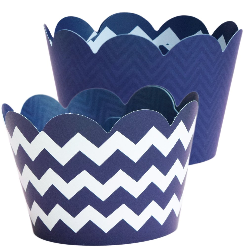 Navy Blue Cupcake Wrappers Nautical Party Supplies, 36 Chevron Cup Cake Decorations, Birthday Treat Holders, Graduation Decor, Wedding, Bridal Shower, Baby Shower Dessert Liner Wrap, Boy Scout Banquet
