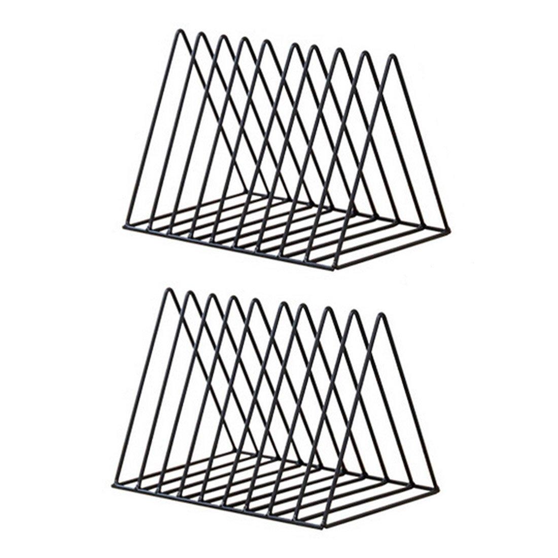 UOPJKL Triangolo semplice Storage rack portariviste mensola porta organizer portaoggetti in metallo - nero