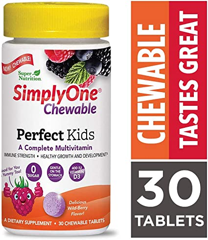 Amazon Com Simplyone Chewable Multivitamin For Kids Daily All In One Vitamin By Supernutrition 30 Day Supply Best Value Pack Health Personal Care