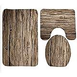 YGUII New Bath Mat,Wood,Rustic Old Barn Wood Bathroom Carpet Rug,Non-Slip 3 Piece Bathroom Mat Set (31)