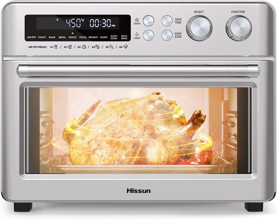 HISSUN Toaster Oven,26.4QT Convection Air Fryer Oven, 10 in 1 Dehydrator/Toast/Bake/Broil/Roast/Pizza Settings,1750W 6 Slice Countertop Pizza oven Stainless Steel